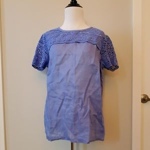 J.Crew Factory Lace Smocked Linen Top